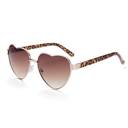 Naivo Women's YJMH062-3 Leopard Print Heart Shape Gradient Sunglasses, - Glasses Amazon Heart