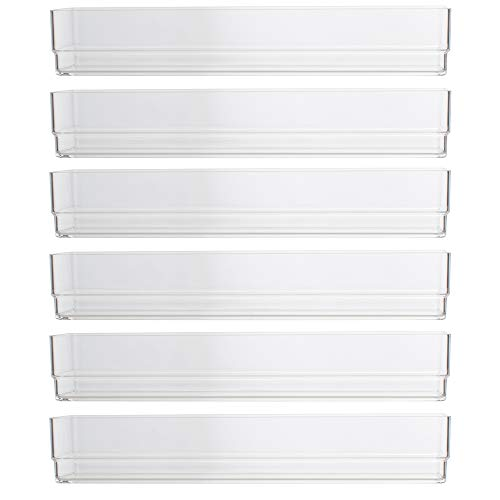 "STORi Clear Plastic Drawer Organizers 9"" x 3"" x 2"" l Set of 6"
