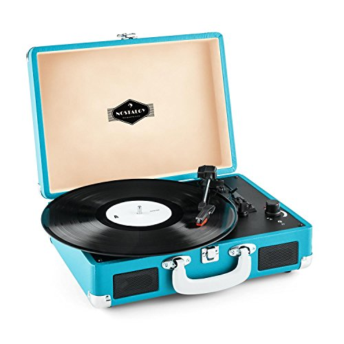 (auna Peggy Sue • Turntable for Vinyl Records • Record Player with Speakers • Retro Design • USB-Port (B) • Digitization • Plug & Play • Portable Suitcase • Blue)