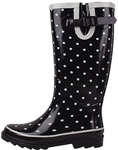 Calf Rain Mid Knee Boots High Fashion Multiple Wellies Snow Black Women's Adjustable Dots Polka Buckle SBC Styles Rubber pw5Y0qv