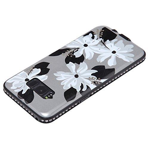 Funda Case Samsung Galaxy S8 silicona,Ukayfe Ultra Delgado Flexible Suave TPU Gel Trasera Bumper Protector Carcasa Para Samsung Galaxy S8,Carcasa de 360 Protección con Pintura de Colores para teléfono Cuatro flores blancas