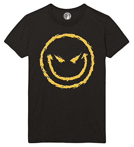 Evil Smiley Face Printed T-Shirt - Black - SM