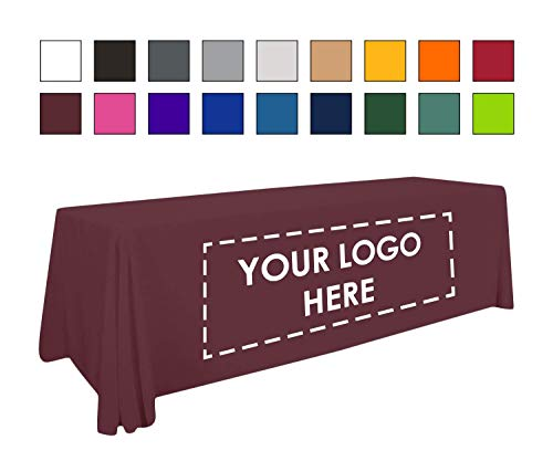 Personalized Add Your Own Logo Custom Tablecloth 6' Burgundy Table Cover - Table Throw for $<!--$94.00-->