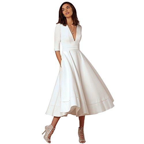 Women's Vintage V Neck A Line Swing Dress Elegant Tea Length Evening Cocktail Wedding Dance Party Formal White M