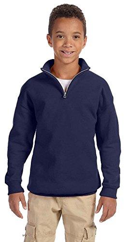 Jerzees Youth NuBlend Quarter-Zip Cadet Collar Sweatshirt, Small, J Navy (Boys Quarter Zip Sweater)