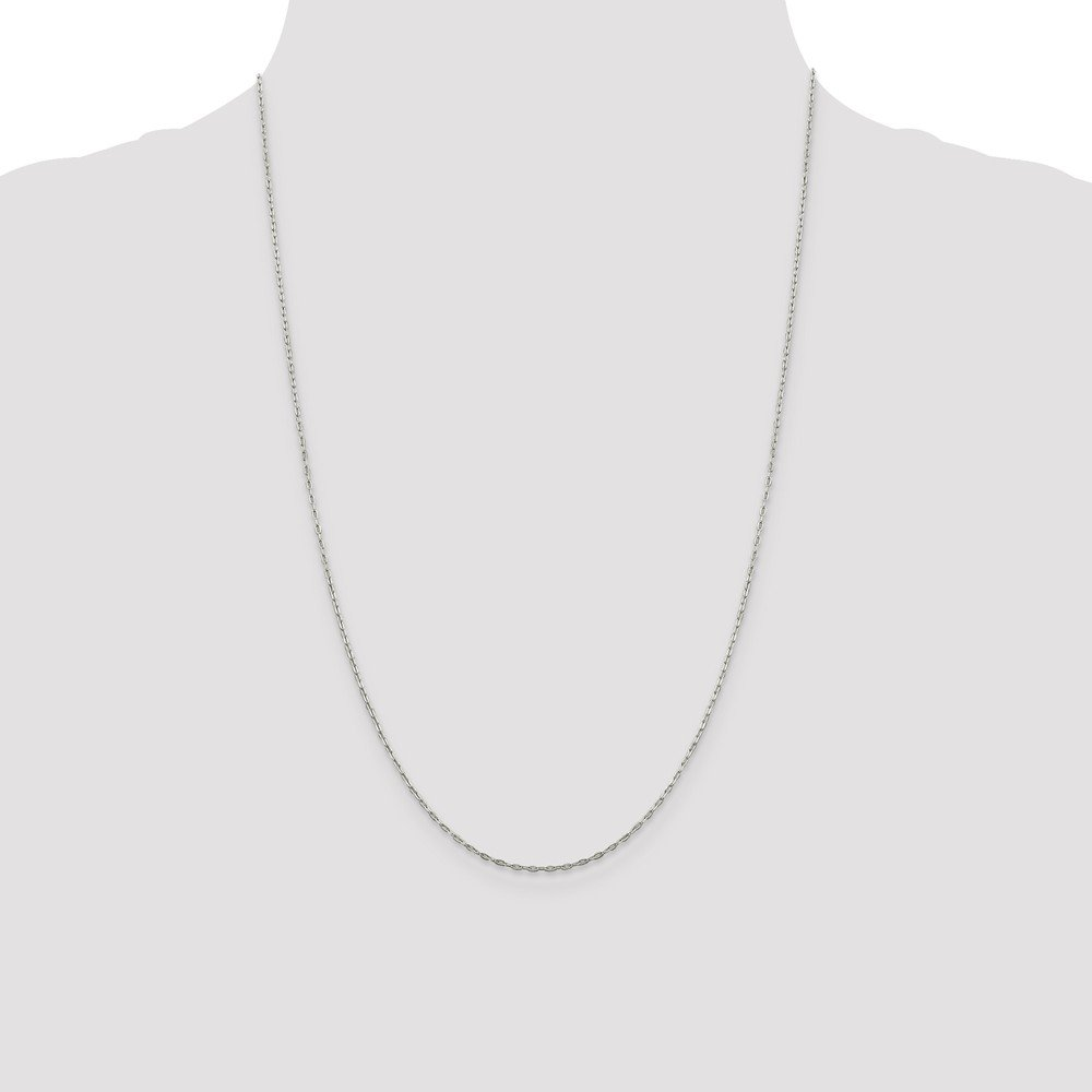 Chains .925 Sterling Silver 1.32MM Beveled Oval Cable Link Necklace