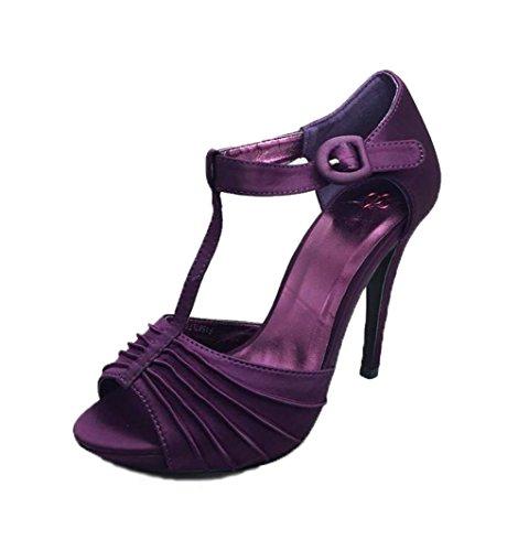 Zapatos púrpuras del corte de la t-barra del tacón alto del satén Purple