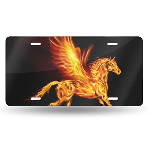 Pegasus Labels - Poream Fire Pegasus in Motion On Black Background Customized Novelty Label Aluminum License Plate Cover Protector for All Standard Cars 6
