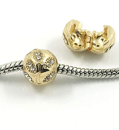 Fashion 25pcs Gold European Charm Crystal Spacer Beads Fit Necklace Bracelet