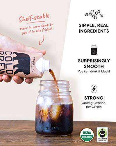 Wandering Bear Organic Cold Brew Coffee On-the-Go 11 oz Carton, Straight Black, No Sugar, Ready to Drink, Not a Concentrate (Pack of 12) by Wandering Bear (Image #2)