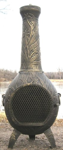 The Blue Rooster Co. Orchid Style Cast Aluminum Wood Burning Chiminea in Gold Accent.