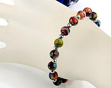Ecloud Shop® Pulsera Brazalete Cristal Abalorios Bolas Cuentas Multicolor Party