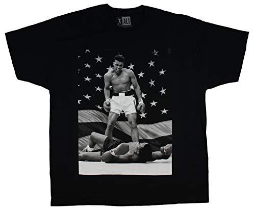 Ali Muhammad Merchandise - Muhammad Ali Black and White American Flag Knockout Graphic Design Men's T-Shirt (XXXX-Large)