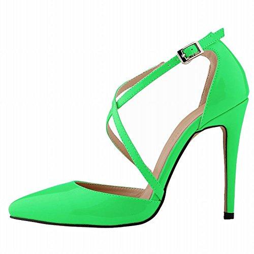 Green Strap Heels Summer Loslandifen Sandals High Stilettos Ankle Womens Pumps w6XRzXT