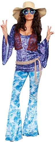 Woodstock Girl Costumes (Dreamgirl Women's Wild At Woodstock Costume, Multi, Medium)