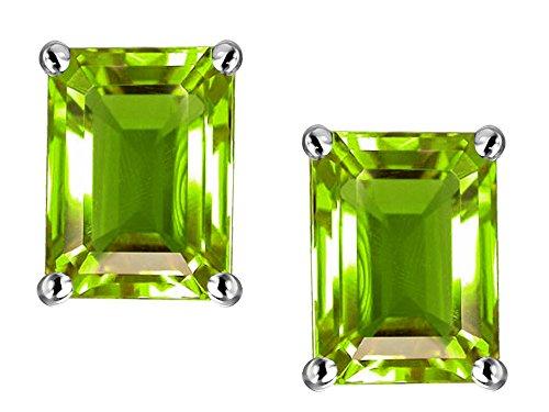Star K Emerald Cut 8x6mm Genuine Peridot Earrings Studs 14 kt White ()