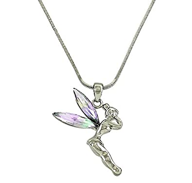 Amazon dianal boutique fairy tinkerbell pendant necklace silver dianal boutique fairy tinkerbell pendant necklace silver tone ab crystal wings gift boxed tinker bell fashion aloadofball Images