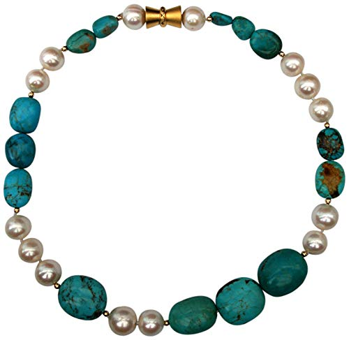 (Stunning, Chunky, Natural Turquoise and Large White Baroque Cultured Pearl Necklace with an Attractive Magnetic Clasp)