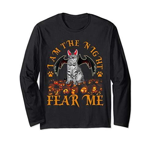 I am the night fear me T-shirt Funny Bengal Cat Halloween  Long Sleeve T-Shirt