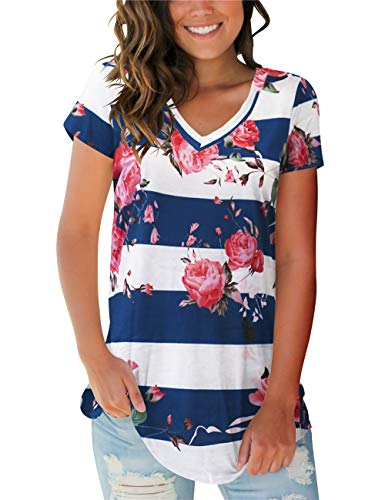 - Womens V Neck Short Sleeve Tee Tops Floral Basic T-Shirts Summer Tunic Blue Stripe M
