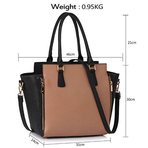 LeahWard Damen Reißverschluss Handtaschen Nizza Tote Schultertaschen Tasche für Schulferien 00314 (Schwarz) Schwarz/Nude