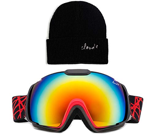Cloud 9 Professional Adult Snow Goggles Wildcat Anti-Fog Dual Lens Wide Angle (Combo-Red Goggle & Black Beanie, Orange Revo) (Ski Wildcat)
