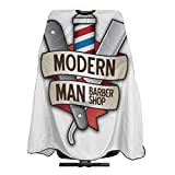 Modern Man Barber Shop Razor Sign Light Navajas Hairdresser Hair Stylist Haircut Cover Salon Barbering Cape Shop Accessories Styling Cutting Kit Professional Cloth Women Men Adult