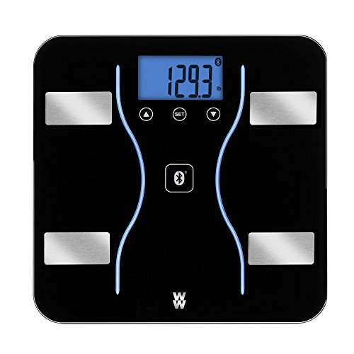 WW Scales by Conair Bluetooth Body Analysis Bathroom Scale - Measures Body Fat, Body Water, Bone Mass, Muscle Mass, and BMI, 9 User Memory, 400 lb. capacity, Black