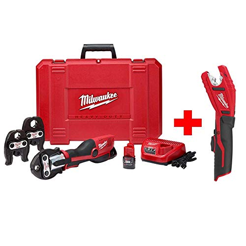 - Milwaukee M12 12-Volt Lithium-Ion Force Logic Cordless Press Tool Kit with Free M12 Copper Tubing Cutter (3 Jaws Included)