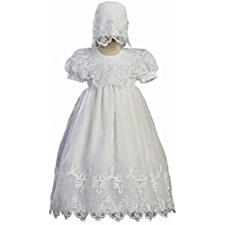 White Embroidered Organza Christening Baptism Gown with Bonnet - S (3-6 Month)