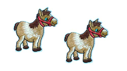 2 Pieces Horse Iron On Patch Applique Wildlife Animal Pony Motif Fabric Scrapbooking Decal 2.16 x 2.16 inches (5.5 x 5.5 cm)