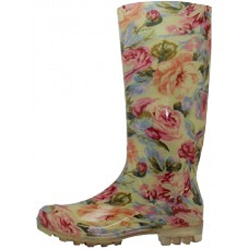 Shoes 18 Womens Classic Rain Boot with Buckle (11, Natural Floral)