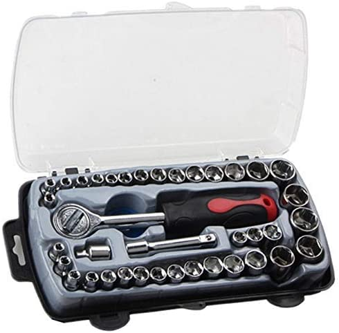 CHENBIN-BB ボックスキットキャリングと自動車修理のための40個のT形車の修復ツールソケットセット防錆ラチェットレンチコンビネーションツール