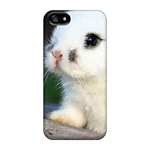 Rugged Skin Case Cover For Iphone 5/5s- Eco-friendly Packaging(fluffy White Bunny)