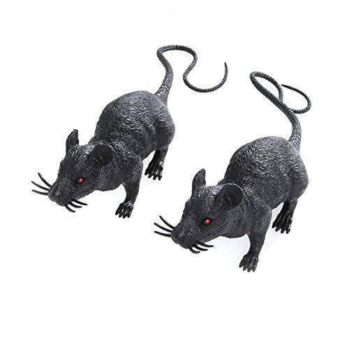 Toyvian 2pcs Realistic Mice Toy Spooky Rat Toy Halloween Prank Toy Creepy Halloween Decor]()