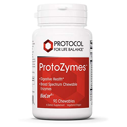 Protocol For Life Balance - ProtoZymesTM - Supports Digestive Health, Breakdown of Proteins, Carbohydrates, Fats, More in Chewable Supplement - Natural Berry Flavor - 90 Chewables
