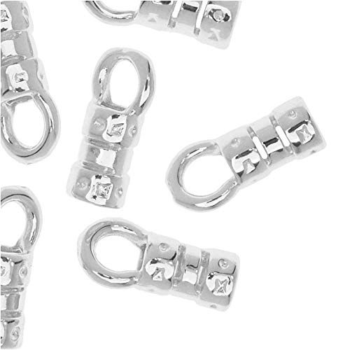 (Beadaholique Cord Ends, Fancy Crimp Style with Loop, Fits 2mm Cord, 20 Pieces, Silver Plated)