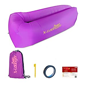 Inflatable Chair, 2017 New Lightest and Most Comfortable air chair, Easy Carry Camping Chair Outdoor Beach Chair Travel Chair with Anchor, Stake, Pocket and Bag, Floats on Water