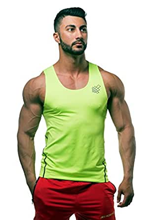 Jed North Mens Bodybuilding Compression Tank Top Slim Fitted Workout Base Layer Shirt Neon Green