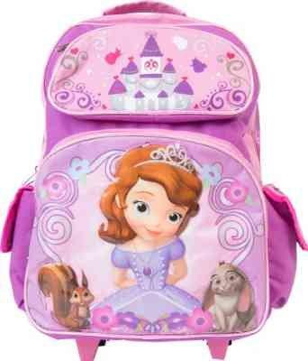 af71f8e40dc9 Disney Princess Sofia The First Large Rolling Backpack Girls School Book  Bag 16