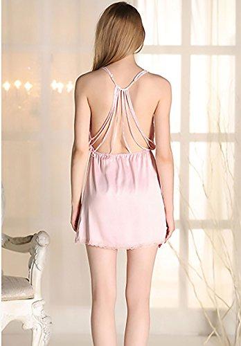 Vestito V Elegante Kimono Donna Vestiti Colore Rosa Estivi Senza Corti Puro Pigiama Schienale Ragazze Spaghetti Sciolto Vestaglie Neck Chic Fw7SScXq