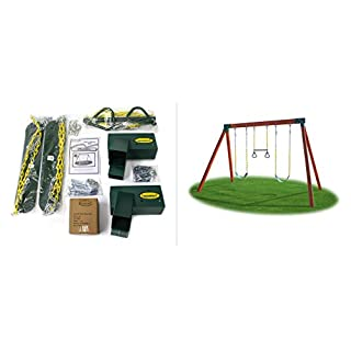Eastern Jungle Gym DIY Swing Set Hardware Kit with Easy 1-2-3 A-Frame Brackets, Swing Seats, Ring Trapeze Bar and All Assembly Hardware and Instructions - Wood Not Included