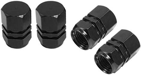 REFURBISHHOUSE 4x黒の金属ヘキサゴンオートカータイヤタイヤバルブキャップカバー
