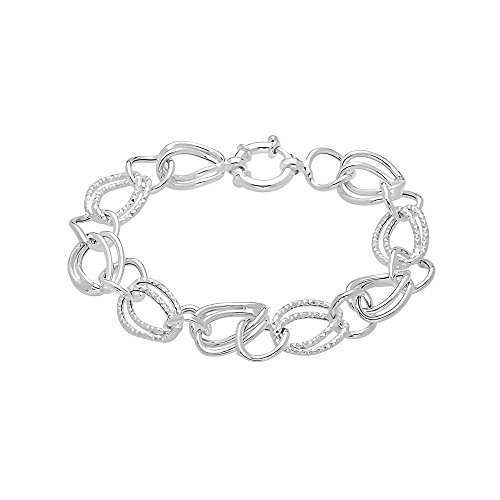 Pori Jewelers Sterling Silver Open Rolo Link w/Alternating Diamond Cut Chain Bracelet -Made in Italy-8