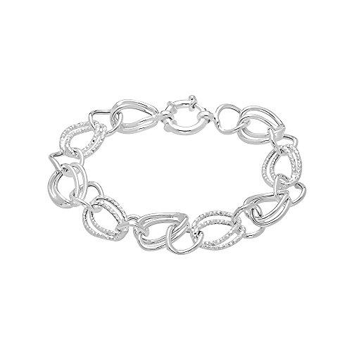 "Pori Jewelers Sterling Silver Open Rolo Link w/Alternating Diamond Cut Chain Bracelet -Made in Italy-8"""