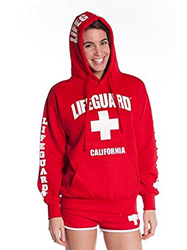 LIFEGUARD Officially Licensed Ladies California Hoodie Sweatshirt Apparel for Women, Teens and Girls (XX-Large, Red)
