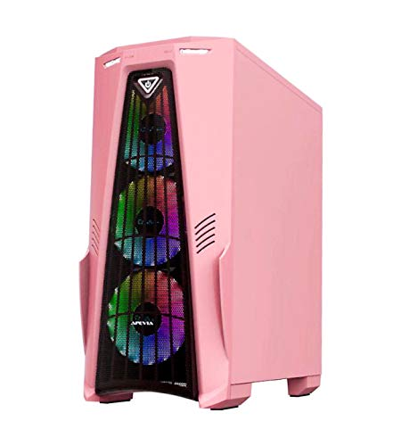 Apevia Crusader F Pk Mid Tower Gaming Case With 1 X Full Size Tempered Glass Panel Top Usb30usb20audio Ports 4 X Rgb Fans Pink Frame