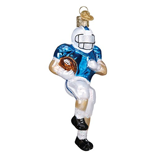 Old World Christmas Glass Blown Ornament with S-Hook and Gift Box, Sports Collection (Football Player)
