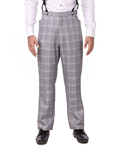 (ThePirateDressing Steampunk Cosplay Costume Classic Victorian Men's Pants Trousers C1488-Grey+ Blue Check (100% Cotton)