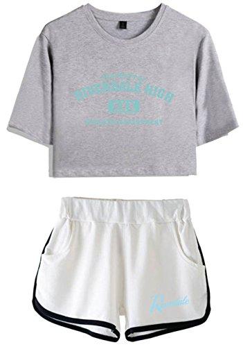 Crop Donne bianca T Per Riverdale 5757 E grigio shirt Top Seraphy Ragazze thsBdQCrx